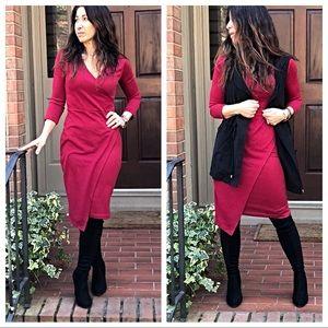 Dresses & Skirts - Faux wrap soft brushed fabric midi dress